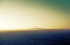 The bridge between Denmark and Sweden (Mr.CPH) Tags: ocean road morning bridge blue sunset sea sky mist seascape beautiful architecture zeiss sunrise denmark photo photos sweden sony rail sample serene airphoto longest scandinavia a6000 1670z
