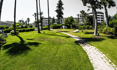Pathways , hotels. (CWhatPhotos) Tags: cwhatphotos path paths pathway green grass hotel prom promanade marmaris olympus samyang fisheye fish eye 75mm wide angle prime lens water holiday june 2015 photographs photograph pics pictures pic image images foto fotos photography artistic that have which contain digital bythe blue turkey sea beach wear sand walk sky skies clear day hot sunny sun aegeon aegean turkish hols epl5 manual focus