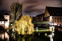 Nrnberg Henkersteg (bastianlui) Tags: city water night deutschland nightshot nacht nrnberg nachtaufnahme henkersteg