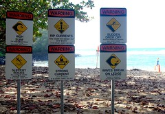 Death awaits (pburka) Tags: park signs beach danger warning hawaii high rocks surf waves break state tide rip drop off communication ledge kauai slippery kee haena