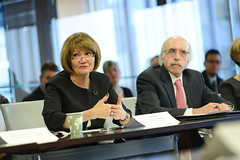 Christine Wiseman, President at Saint Xavier University, makes a comment during the America's Urban League meeting at the Chicago Community Trust. (The Chicago Community Trust) Tags: chicago president urbanity saintxavieruniversity christinewiseman americasurbanleague