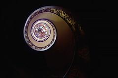 Urbex ✧ Château Hélix (Marie l'Amuse) Tags: chateau castle manoir manor mansion demeure medieval bois wood abandonné abandoned urban exploration urbex decay oublié forgotten rich nikon d7200 escaliers stairs sombre dark noir black lumière light helix spirale spiral jaune yellow fenetre window verriere perspective france