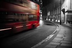 curved bus.. (Cem Bayir) Tags: street leica city travel light red england urban blackandwhite color bus london monochrome night 35mm lowlight f14 streetphotography fast bynight fullframe summilux asph selective handhold leicam asperical leicalove 35mmf14summiluxasph leicaphoto leicam240