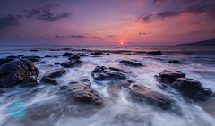 Maui Volcanic Haze Sunset (brandon.vincent) Tags: pink red water volcano hawaii lava movement haze rocks long exposure 9 maui filter lee volcanic sunet gnd