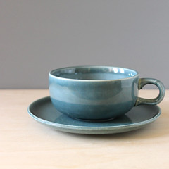 Seafoam Green. (Kultur*) Tags: kitchen russell tea drink cups 1940s american teacups wright serving sets drinkware seafoamgreen seafoam midcenturymodern steubenville cupandsaucer russellwright americanmodern flatcup