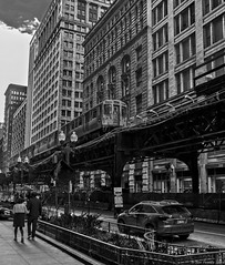 Wabash and Randolph (piano62) Tags: blackandwhite chicago monochrome downtown trains streetscenes thel nikon50mm18 nikond750