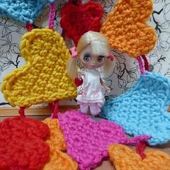 BaD Feb 8 - Hearts (lyndell23) Tags: crochet blythe blythedoll blythestar blytheaday lpsblythe picmonkey hikingtriplpsblythe