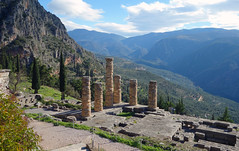 View down to the Temple of Apollo, Delphi