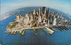 Pan Am Airlines, Manhattan Skyline (SwellMap) Tags: architecture plane vintage advertising design pc airport 60s fifties aviation postcard jet suburbia style kitsch retro nostalgia chrome americana 50s roadside googie populuxe sixties babyboomer consumer coldwar midcentury spaceage jetset jetage atomicage