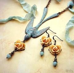 Sweetly sentimental (lilruby) Tags: vintage necklace handpainted earrings amazonite paleblue vintageinspired vintagebird ivoryrose lilrubyhandcraftedjewelry
