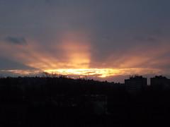 Sunset (vegeta25) Tags: houses sunset sky orange sun angel clouds landscape evening fuji miracle fujifilm sillouette myfuji s3200