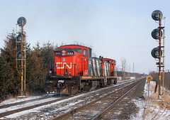 The Gunboat Show (Joseph Bishop) Tags: railroad ontario cn train track tracks rail railway trains signals zebra rails railfan emd gunboat 1444 1437 copetown gmd1 copetownwest cndundassubdivision