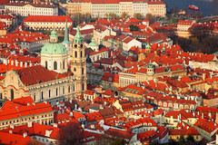lesser town [Explored] (Robeevans) Tags: old city travel roof red holiday building travelling tower church canon buildings eos rebel town europe republic czech prague centre capital towers eu praha historic roofs 500d t1i