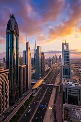 Toy Cars (albert dros) Tags: travel sunset sky clouds dubai cityscape skyscrapers sheraton sheikhzayedroad burjkhalifa albertdros