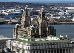 Liver Building from Radio City Tower (.annajane) Tags: uk england water skyline architecture liverpool river cityscape waterfront view aerial pierhead wirral merseyside liverbuilding stjohnsbeacon radiocitytower rivermersey