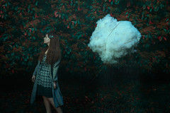 I Was A Cloud (C) (13/52) (Tarla Walton) Tags: red cloud plant green girl leaves rain depression 52weekproject thealphabetproject