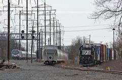 Delco Lead (Erie Limited) Tags: ns amtrak me2 nec norfolksouthern conrail newbrunswicknj northeastcorridor emd gp382 csao acs64 citiessprinter delcolead