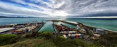 Port of Napier (krapzapper) Tags: ocean sea newzealand port boats pacific pentax ships logs nz tugs napier stitched hawkesbay panarama k3 msice krapzapper
