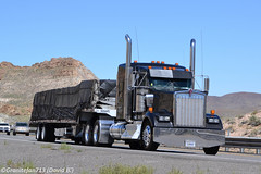 Kenworth W900L with a Stepdeck (NV) (Trucks, Buses, & Trains by granitefan713) Tags: truck 18wheeler flatbed kenworth tractortrailer bigrig largecar longhood owneroperator kenworthtruck stepdeck w900l kenworthw900l