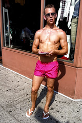 IMG_0305 v4 (Wheels Down) Tags: nyc pink shirtless feet muscle smooth twink flipflops shorts hottie shortshorts