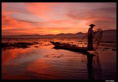 Last light of the day at Inle lake (Dan Wiklund) Tags: sunset lake evening fisherman asia seasia burma canoe myanmar inlelake d800 2014 intha inlaylake