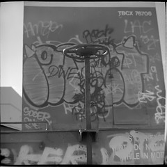 Civilization mimics landscape. (helioshamash) Tags: urban bw 6 white black 6x6 train square los angeles kodak tmax 150 medium format 100 grime rodinal kiev tmx