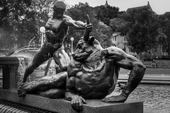 Theseus vs Minotaur (K Michael F C) Tags: water fountain statue greek blackwhite sydney hydepark minotaur theseus greekfountain