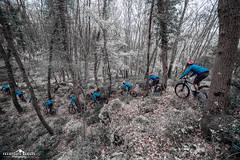 Riding the infrared (Francesco8723) Tags: italy white snow forest woods italia mountainbike picture multiplicity neve infrared whit stacking fakesnow singletrack mentana