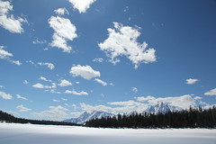 Mountains behind a frozen lake 9 (Aggiewelshes) Tags: travel winter snow mountains landscape scenery april snowshoeing wyoming jacksonhole colterbay frozenlake grandtetonnationalpark 2016 gtnp