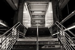 Say Something (liamslab) Tags: white black up lines stairs port underground subway see you if something say upward