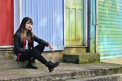 (Raquel Reis Fotografia) Tags: brazil girl smile rock brasil scarf train trafficlight saopaulo trains stop editorial redlips paranapiacaba