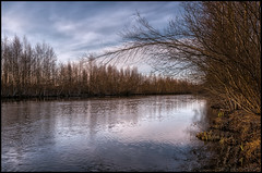n (Jonas Thomn) Tags: sky reflection water clouds forest river himmel  skog vatten hdr moln spegling