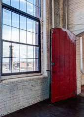 The Red Door (lclower19) Tags: door red mill window lawrence massachusetts smokestack hdr everett