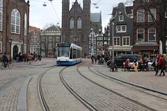 Amsterdam tram (Davydutchy) Tags: plaza city 2 holland church netherlands amsterdam square march trolley linie platz centre nederland kirche tram line rails streetcar glise paysbas plein kerk gable spui niederlande gvb line2 lijn 2016 giebel klokgevel krijtberg tsjerke