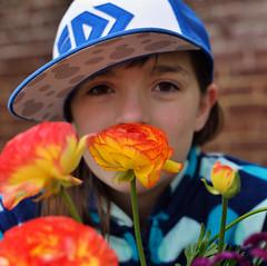 Fiery Flower (JasonCameron) Tags: thanksgiving flowers flower cute girl hat festival point utah kid spring tulip lehi