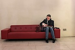 Multi-tasking (in explore ;-)))) (Finding Chris) Tags: red london westminster leather lunch fork somersethouse multitasking redleather redsofa