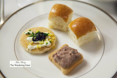 Caviar blini, Foie gras canap, mini broiche buns filled with dill, egg and cornichon salad (thewanderingeater) Tags: nyc manhattan champagne afternoontea uppereastside thelowell thepembrokeroom
