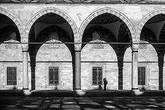 One lonely man / Good for scale (zgr Grgey) Tags: bw scale 35mm nikon geometry stones istanbul mosque textures d750 shdows 2016 sleymaniyecamii dxonfx