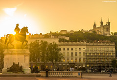 The mysteries of the golden city (Stphane NinO) Tags: street city sunset urban sun france beautiful yellow statue architecture photography soleil lyon pentax ricoh k5 fourvire