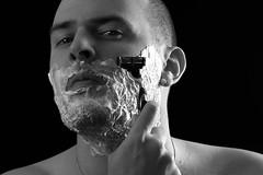 Day Two Hundred Seven (fotoJared) Tags: blackandwhite monochrome self nikon shaving april 365 friday gillette strobist 365project fotojared
