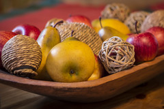 plastic fruits (darioriano) Tags: wood decorations food colors fruits closeup dinner table pears objects apples
