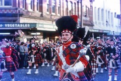 Pipe band at George St Parade, Dunedin c1972 (Lim SK) Tags: new st george pipe band scottish parade zealand dunedin