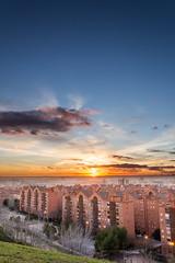 Sunset in Madrid (A.J. Paredes) Tags: madrid park city parque sunset sky urban espaa sun color sol night clouds canon buildings atardecer eos rebel noche photo spain edificios view cielo nubes vista hdr blending vallecas digitalblending 700d 7tetas ajota85 ajparedes