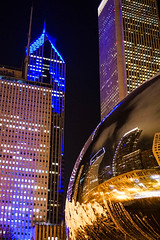 Chi town (kzoop) Tags: nightphotography travel sculpture chicago reflection art skyline night mirror artwork cityscape chi cloudgate thebean