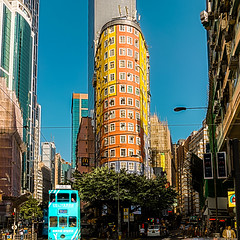 Wan Chai (Kai-Ming :-))) Tags: street orange sunlight tree window car yellow hongkong trafficlight colorful sony cyan tram bluesky roadsign hdr hongkongisland zebracrossing cityview greentree wanchai 166 glasswall johnstonroad kaiming mobileantenna wanchairoad dscrx100m4 kmwhk