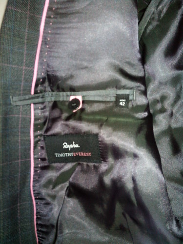 Rapha Timothy Everest Tailored Jacket 2010 Suit Lining and Pink Piping Detail