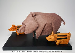 WILD BOAR AND WILD BOAR PIGLETS (2014) (Zsebe Origami) Tags: origami wildboar wildboarpiglet zsebeorigami wildboarorigami origamiwildboar paperandform origamilivingworld origamiexhibitiontaiwan