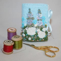 Blue Garden Needle book (Lynwoodcrafts) Tags: flowers blue floral garden book embroidery felt needle embroidered