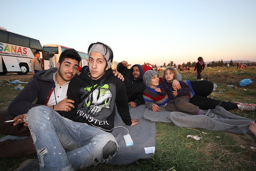 Refugee family - two days stuck in a field in northern Greece