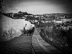 The Old Castle Stairs (Halibel14) Tags: old blackandwhite castle stairs pen lens lumix prague olympus czechrepublic praguecastle prazskyhrad epl1